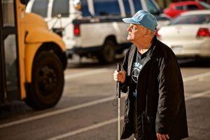 Blind Senior Citizen Trying to Cross the Street