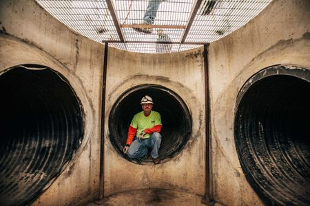 Rescuer In Tunnel