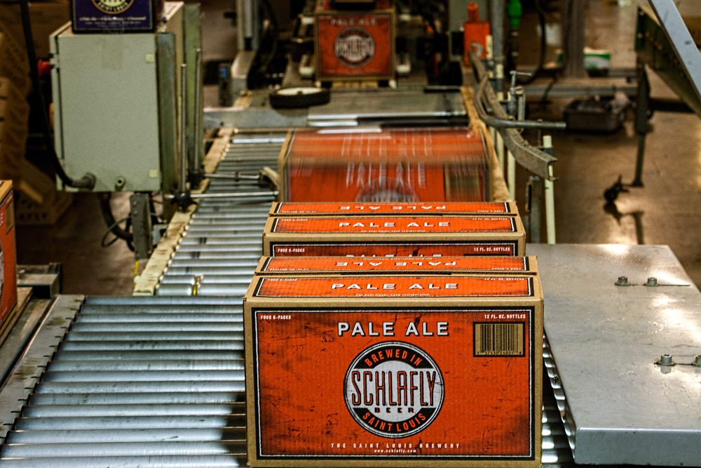 Cases of Beer Coming Off of a Production Line