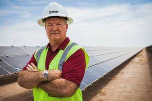 Portrait of a Solar Farm Executive On Locaiton
