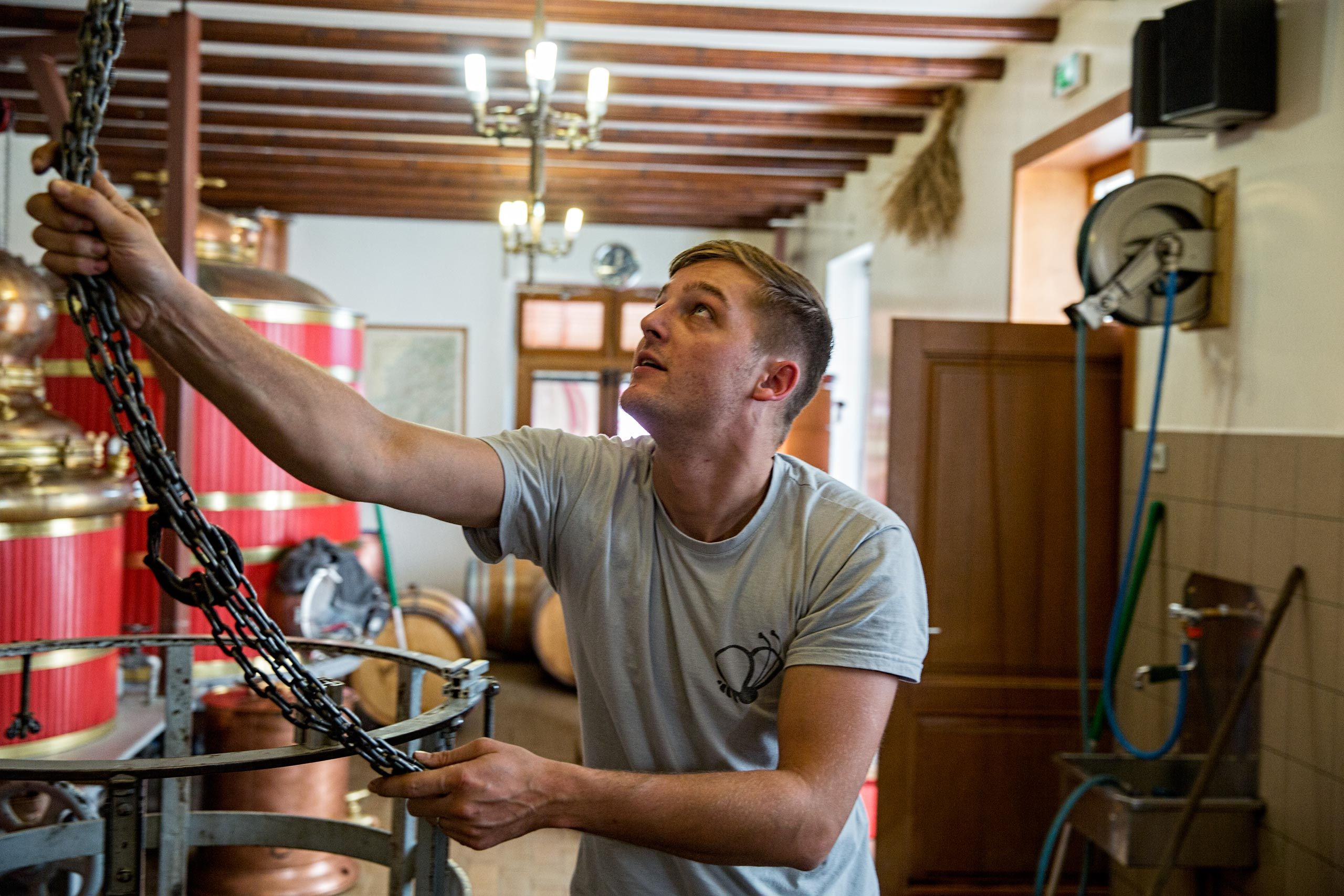Pierre Guy At Work In His Distillery