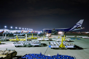 Wide View of a Boeing 747 Aircraft With Empty Cargo Handling Equipment in the Foreground