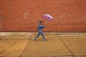 Girl With Purple Umbrella