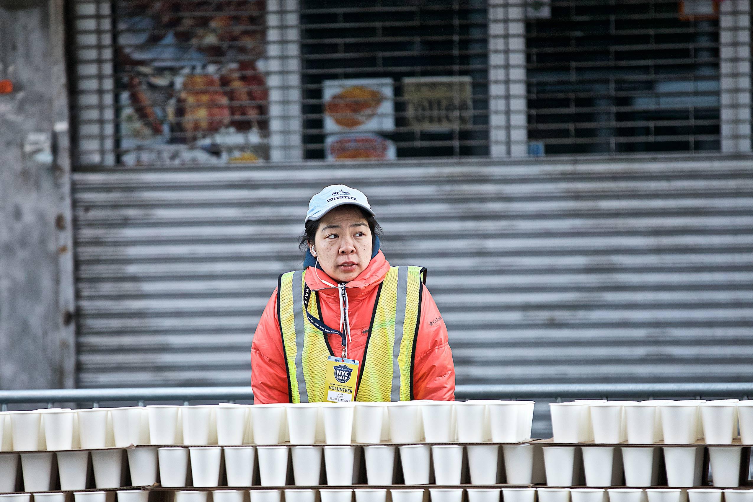 A volunteer at the  NYC Half Marathon