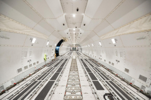 An Graphic Empty Boeing 747-8 Freighter Aircraft