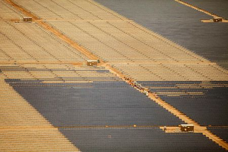 Aerial View of Solar Panels Installation