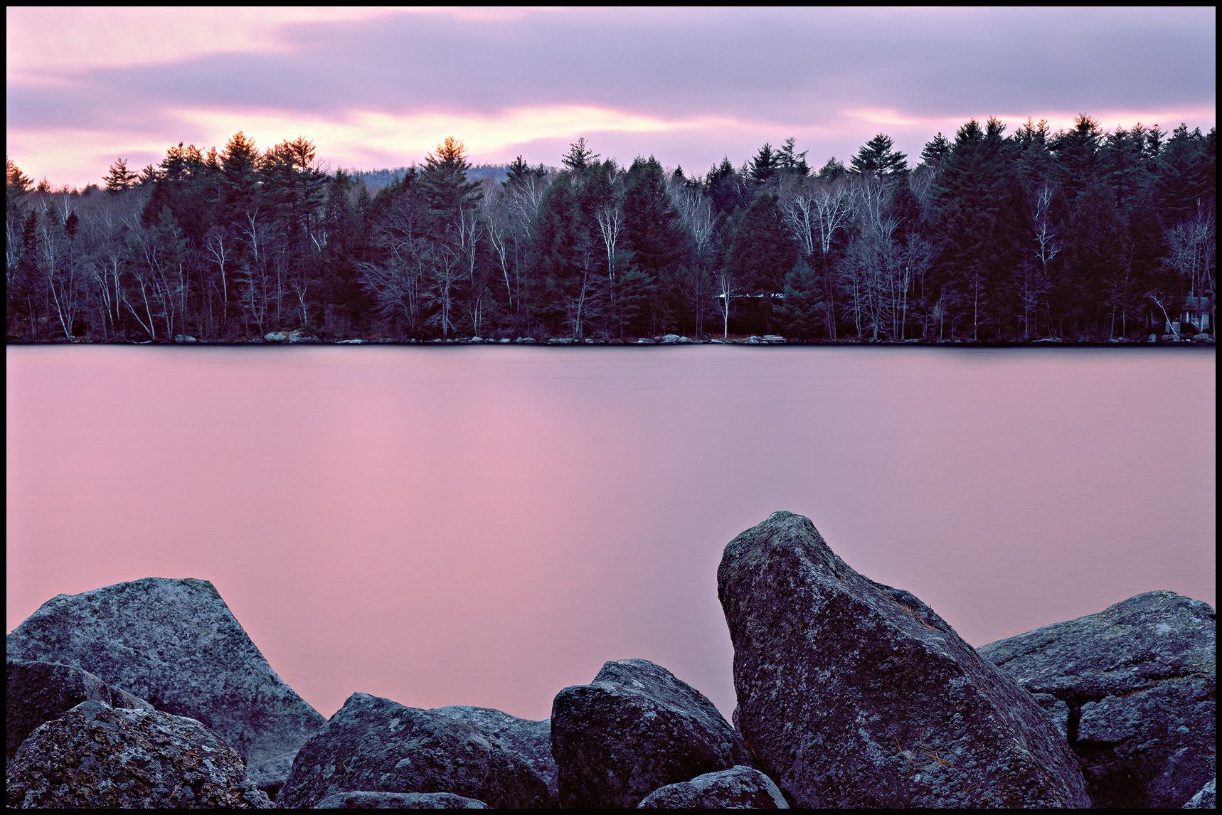 Winter Sunset - Long Pond - Rome, ME