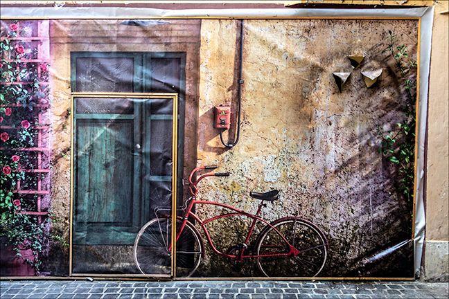 Bike mural with door. Brasov, Romania