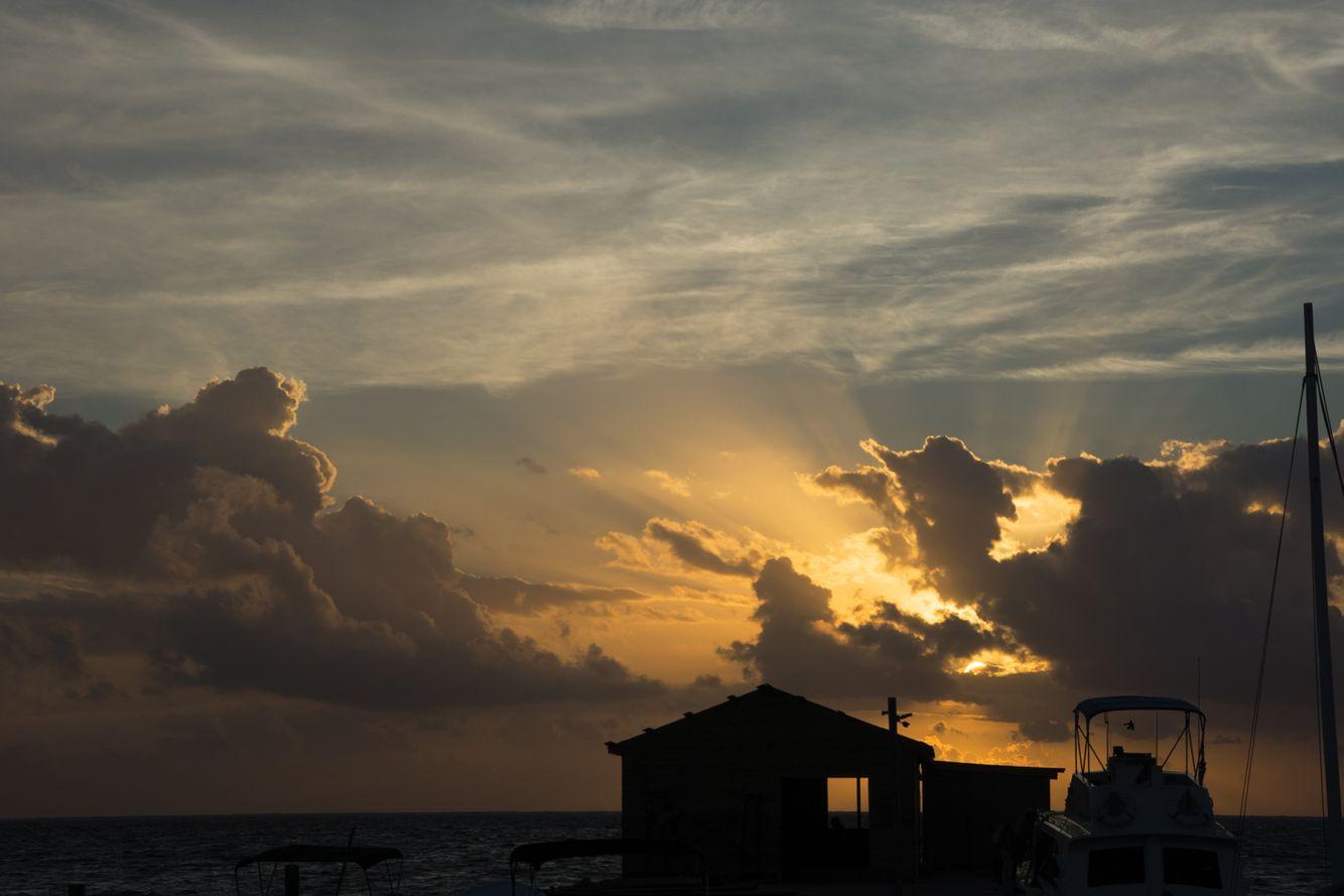 Sunrise on the dock. Caye Caulker,  Belize.