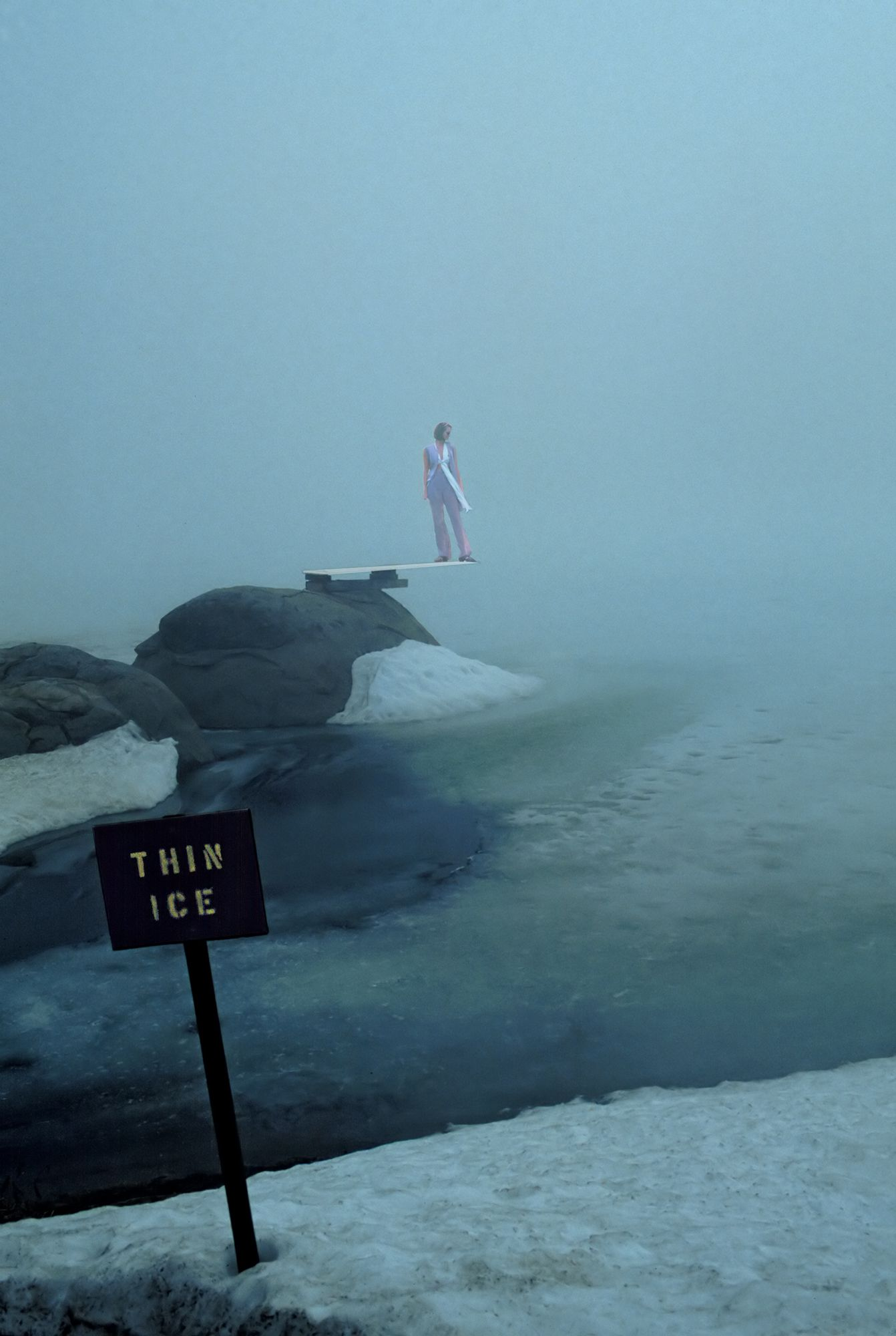 Thin Ice with woman  on diving board