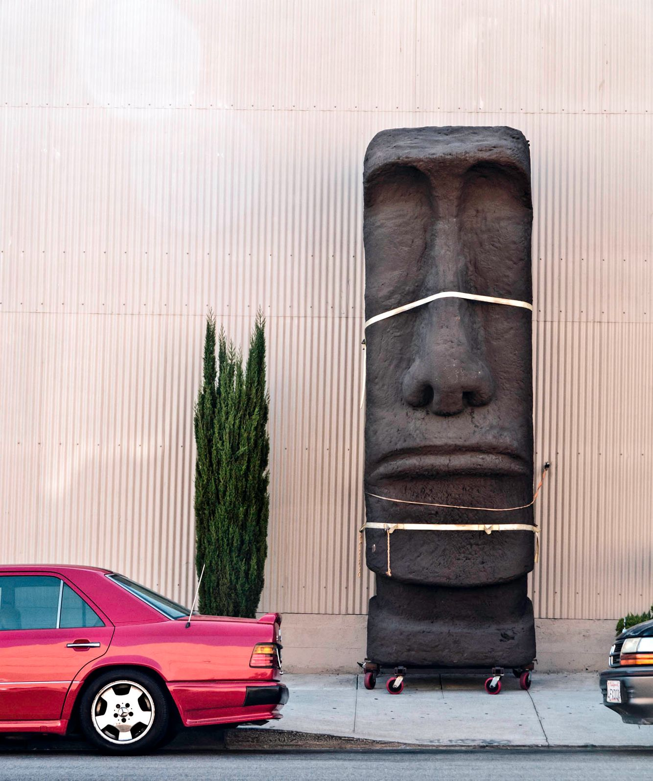 Easter Island head on rollers.