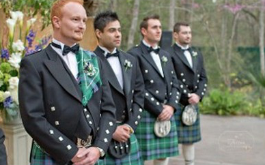Outdoor wedding with Scottish Groom and Groomsmen