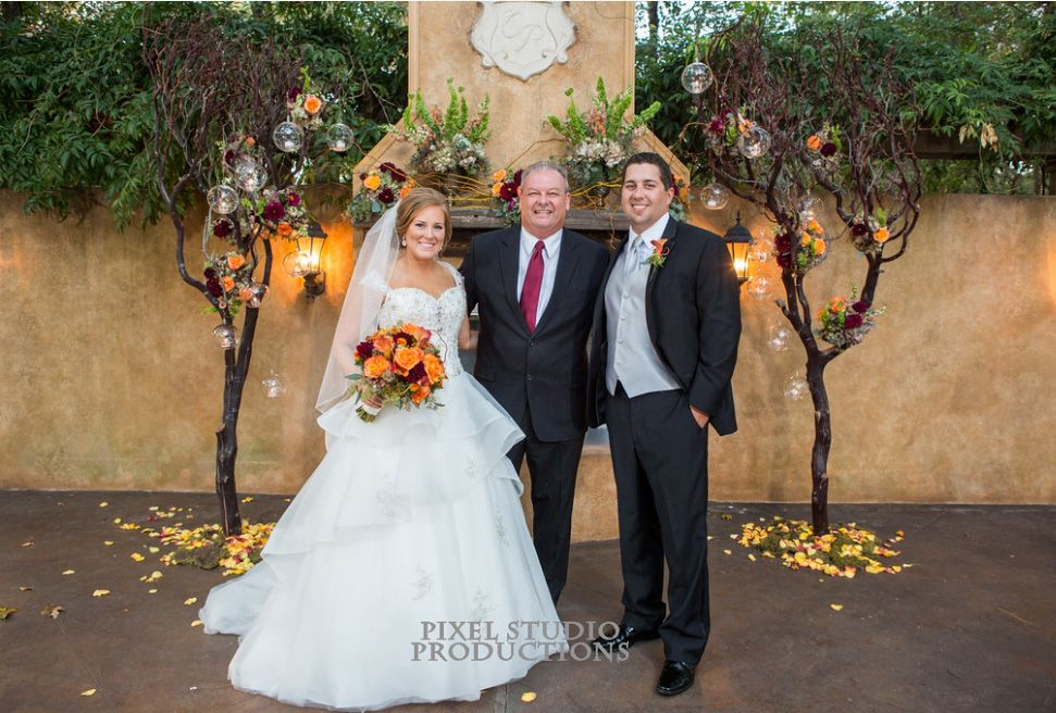 Minister Brian Engle at Chateau Polonez with Bride and Groom in outdoor wedding by Weddings Performed.