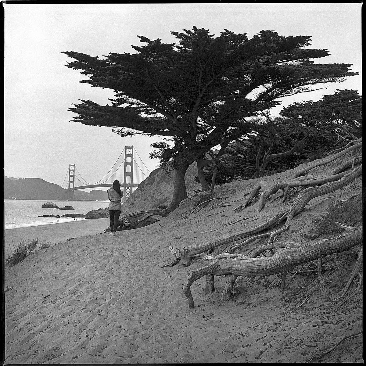 Golden Gate Bridge, b&w, film, medium format, Square format, San Francisco, Baker Beach