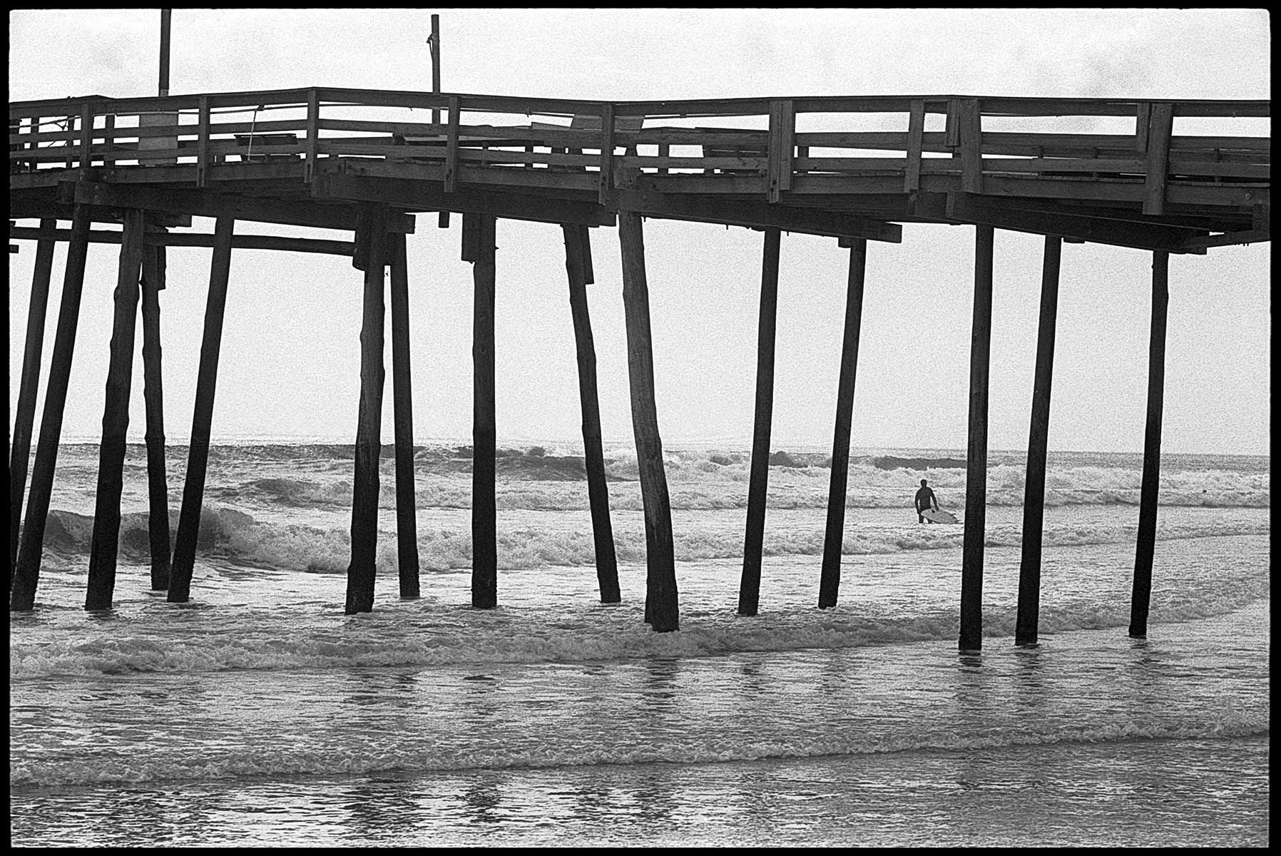 Nags Head, North Carolina, Surfing, Nags Head Pier, b&w, film, surfer
