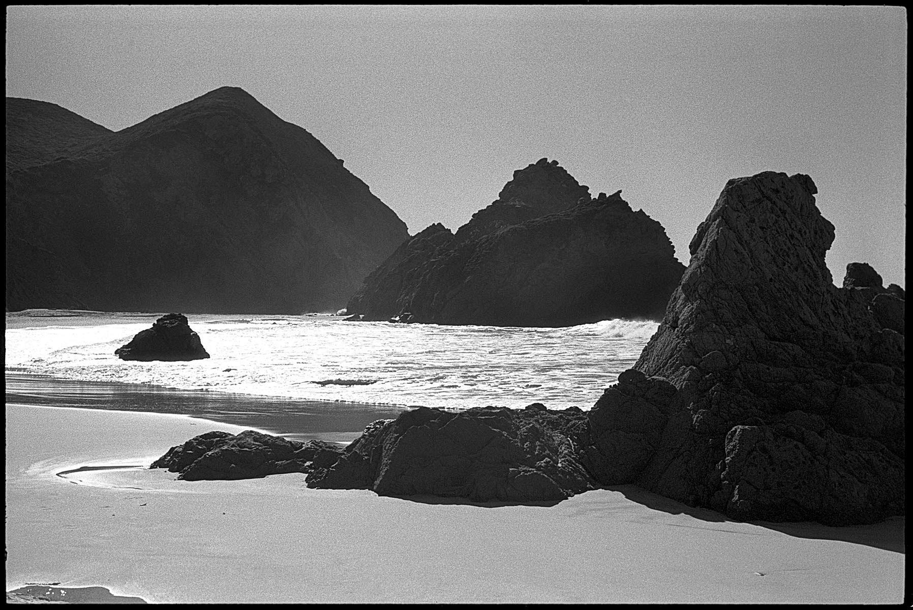 Pfeiffer Beach, Big Sur, b&w, film, Pacific Ocean, landscape,  Stephen Collector
