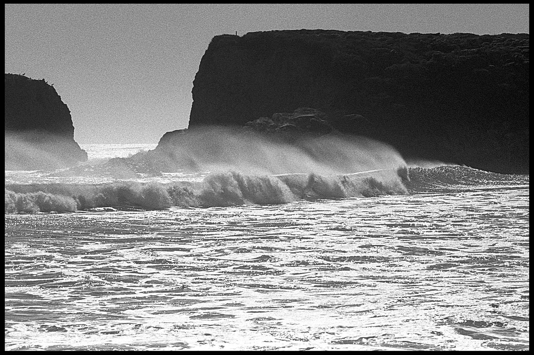 Andrew Molera Beach, windblown surf, pacific ocean, b&w, film, Stephen Collector
