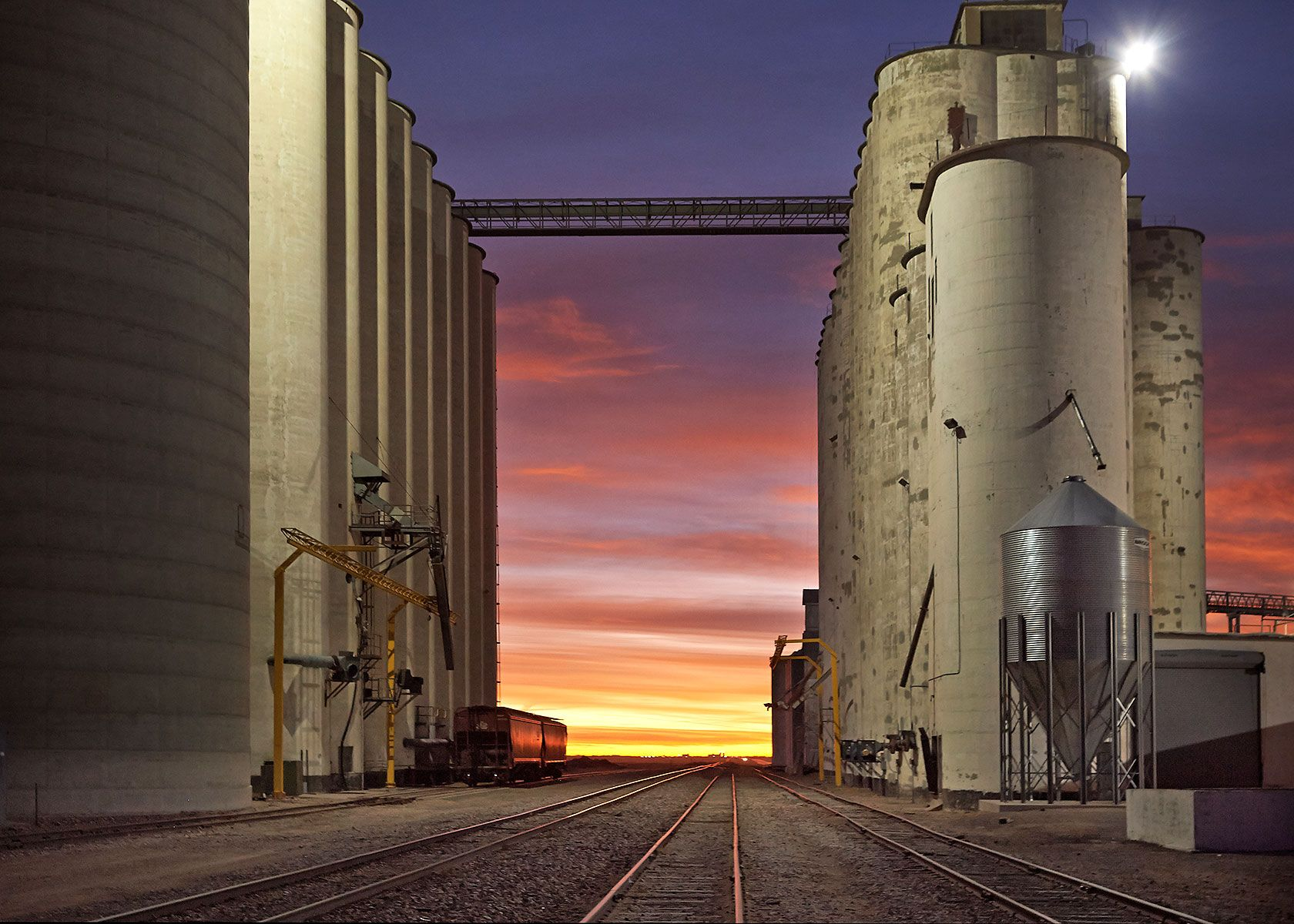 Paoli, Colorado, Co-op, grain elevators, dawn, color, farmers co-op, plains,