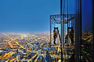 Chicago Skydeck wedding photo, Bride and Groom
