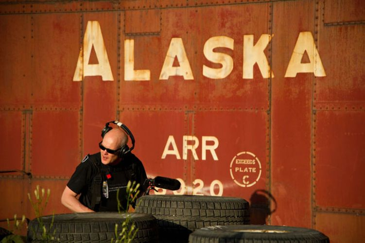 Alaskan sound mixer on location