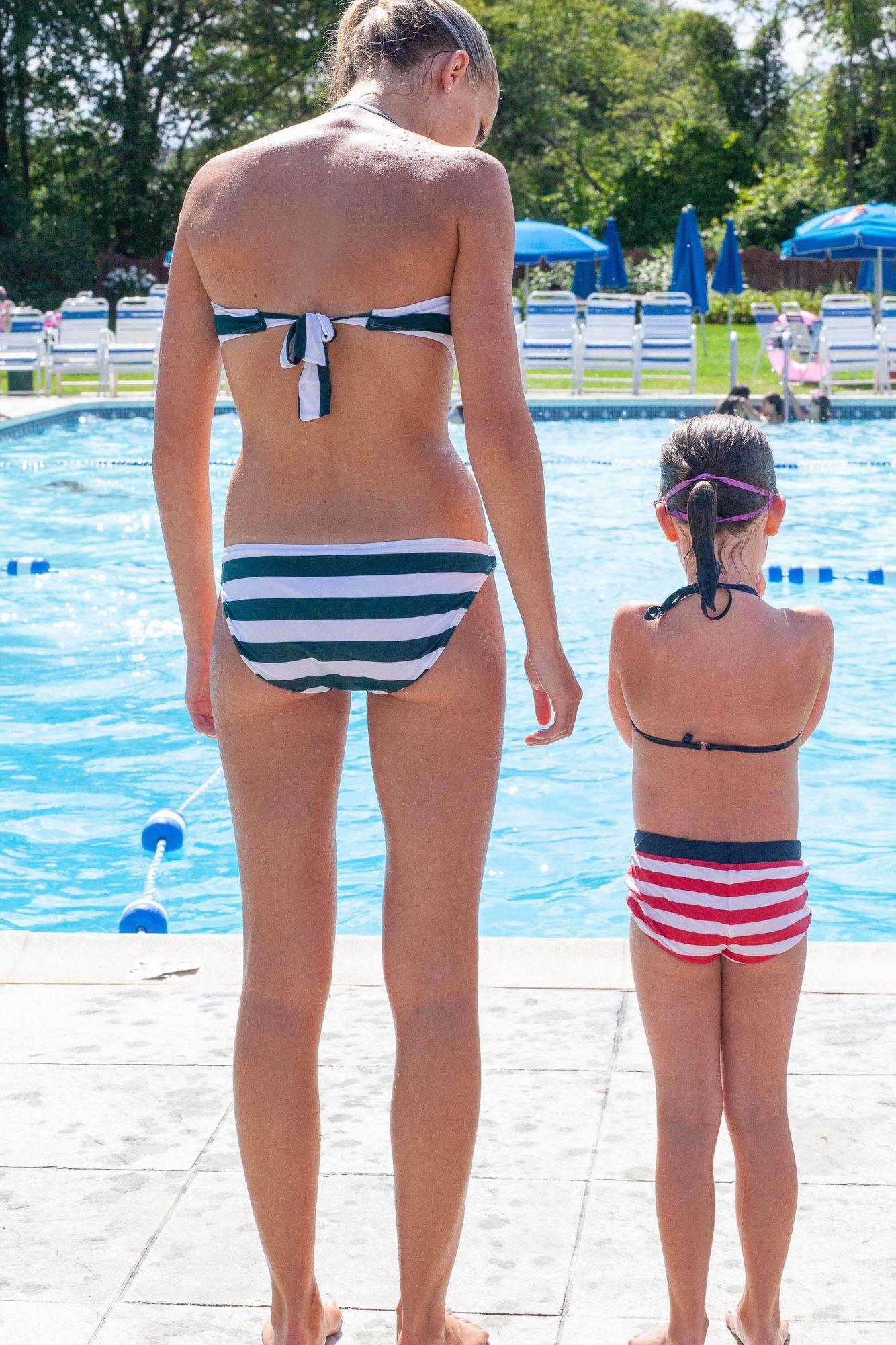 Sisters at pool
