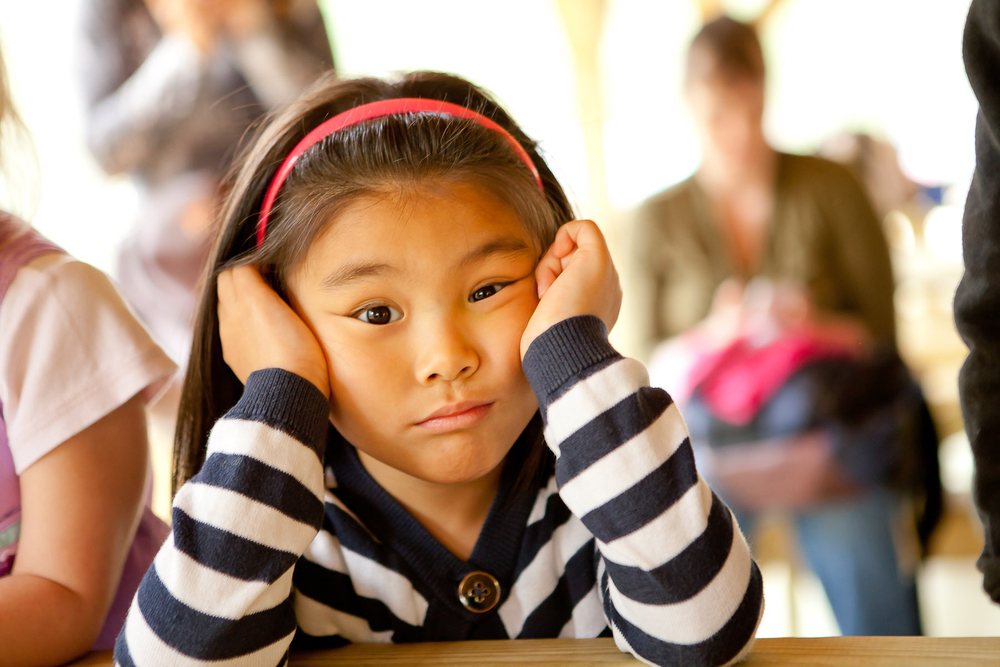 Bored Little Girl at Preschool Shoot