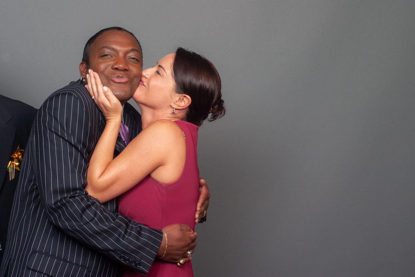 Girl kisses man