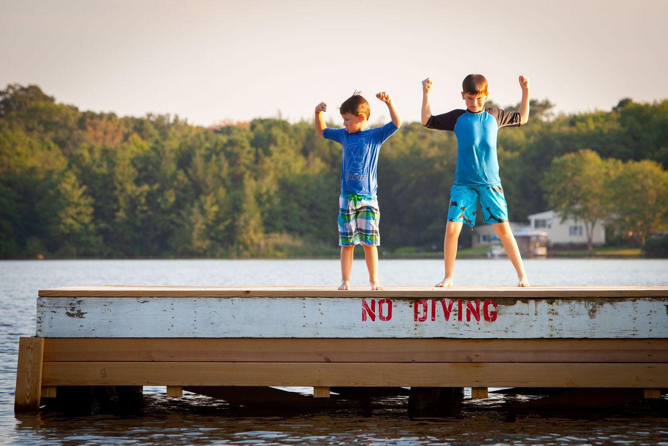 Brothers at Lake