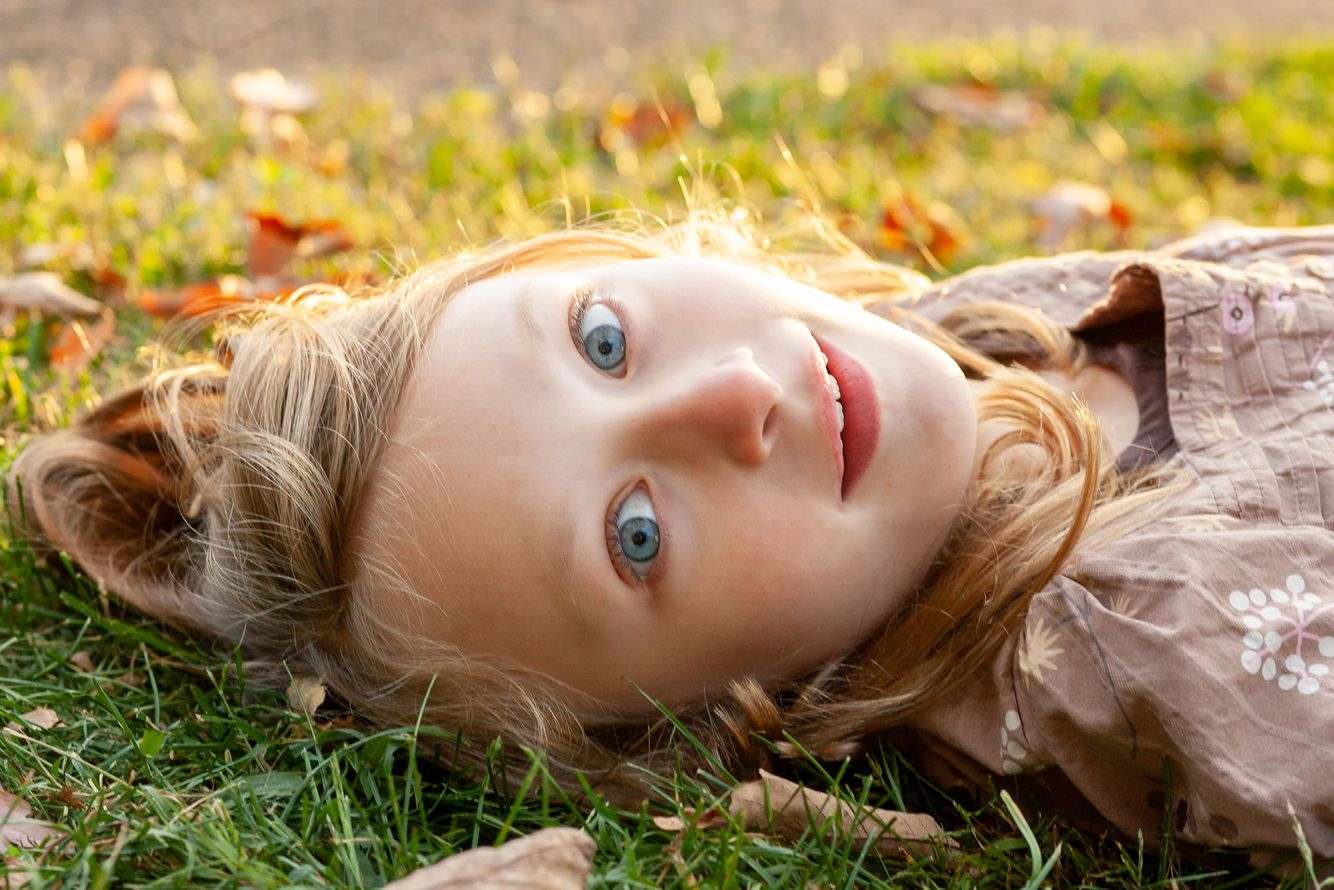 Daughter in grass