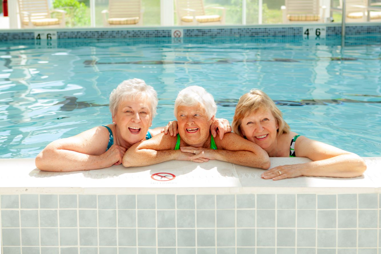 Three ladies in pool