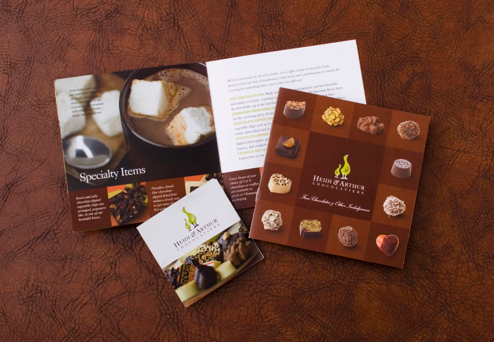 Chocolate Packaging, Branding, Collateral, Brochures,