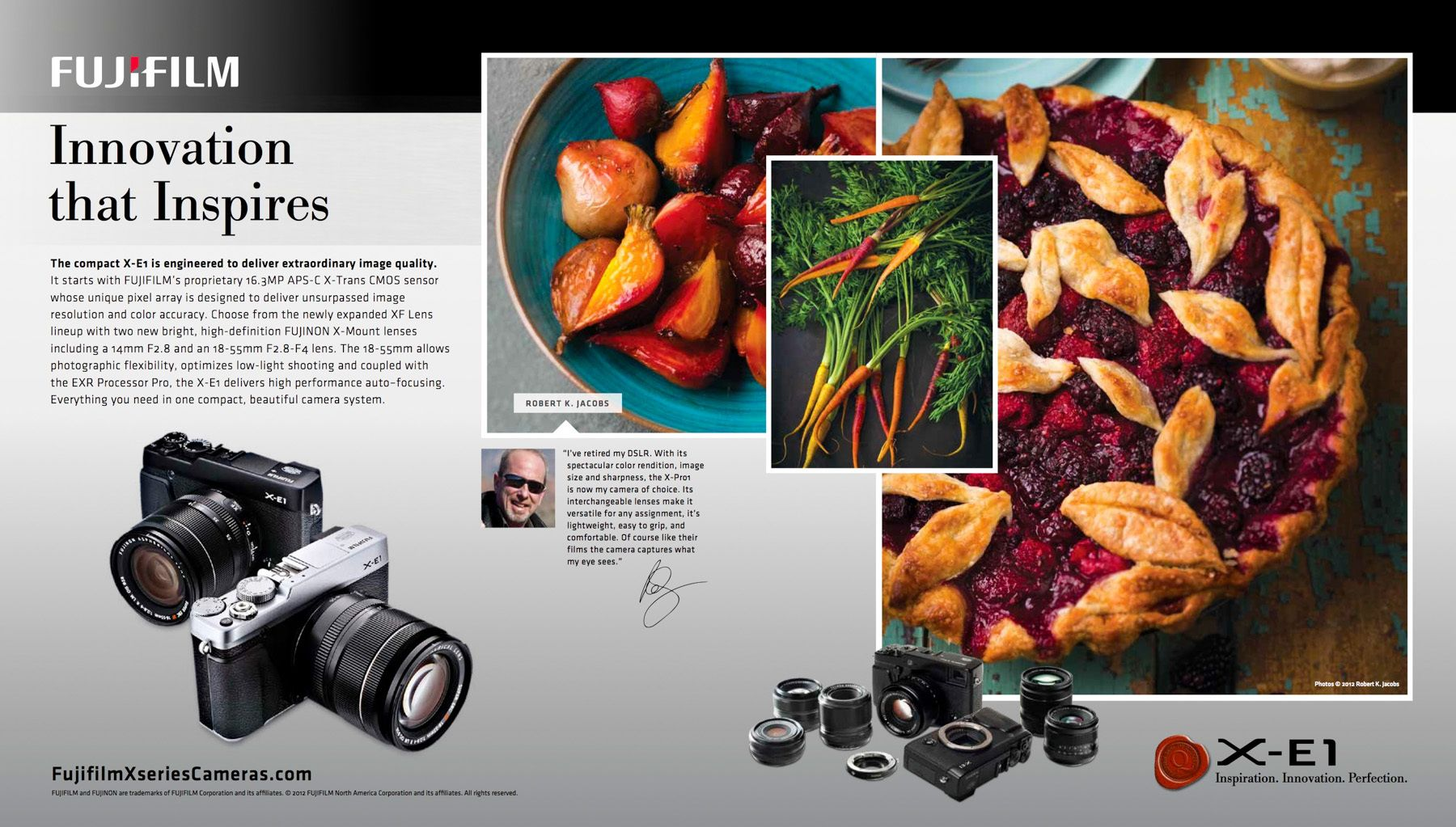 FujiFilm national add with photograph with golden and red beets roasted in turquoise dish, with berrypie, and heirloom carrots,taken with X1-Pro camera includes photo of Robert Jacobswww.rkjacobs.comTop Food Photographer New York Seattle PortlandRobert Jac