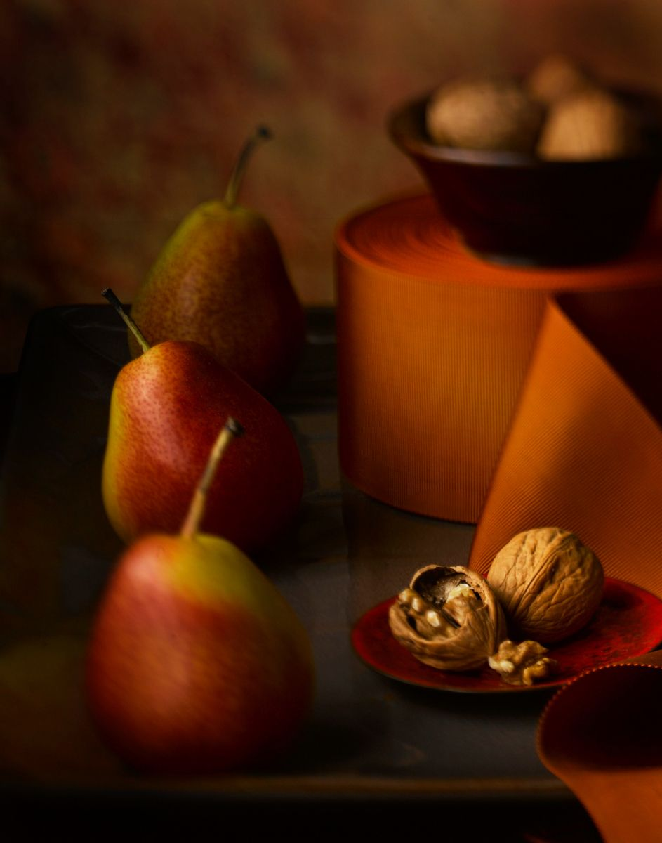 Orange ribbon with walnuts, sickel pears still life www.rkjacobs.comTop Food Photographer New York Seattle PortlandRobert Jacobs Photography ©2013