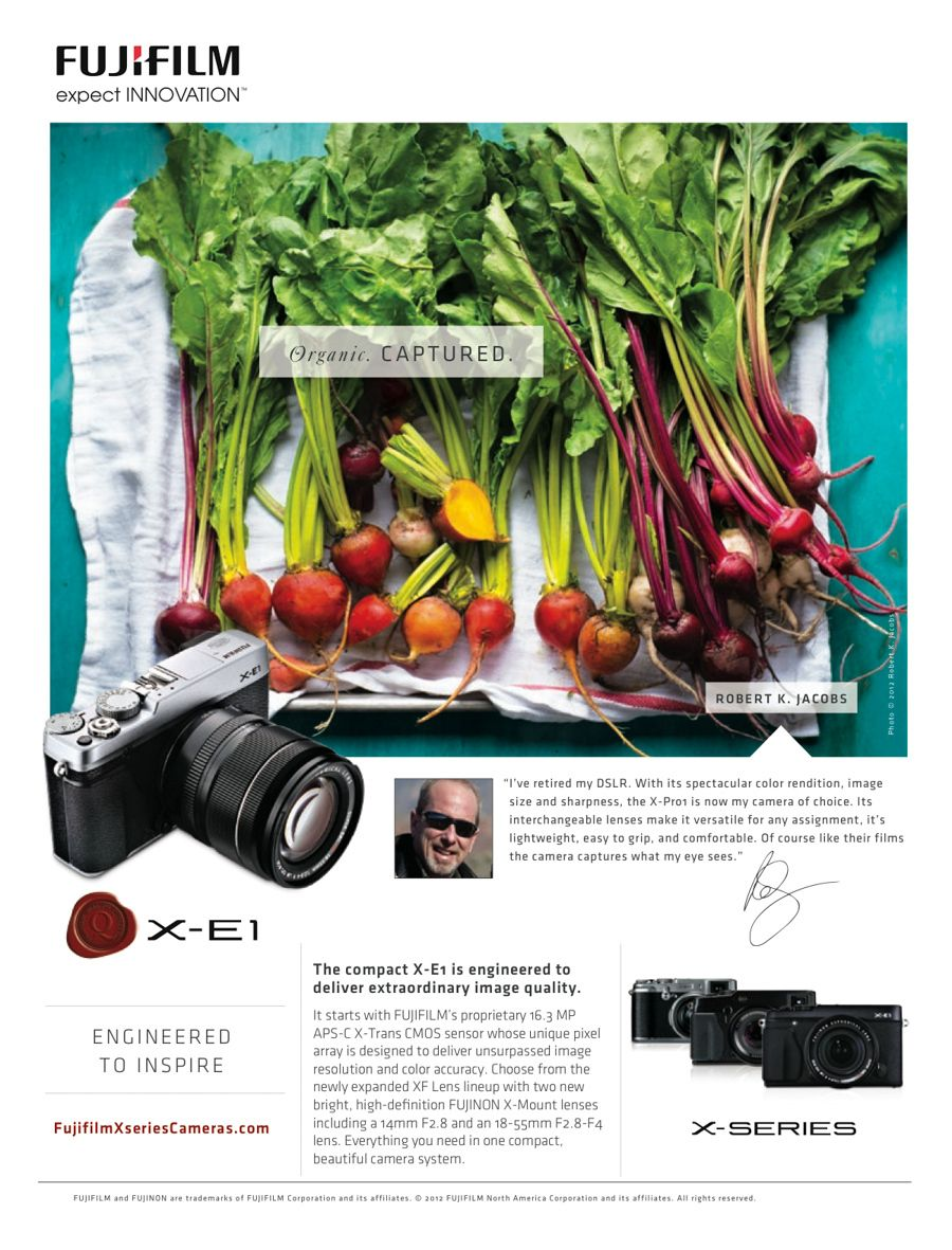 FujiFilm national add with photograph with golden and red beets on white dish towel taken with X1-Pro camera includes photo of Robert Jacobswww.rkjacobs.comTop Food Photographer New York Seattle PortlandRobert Jacobs Photography ©2013