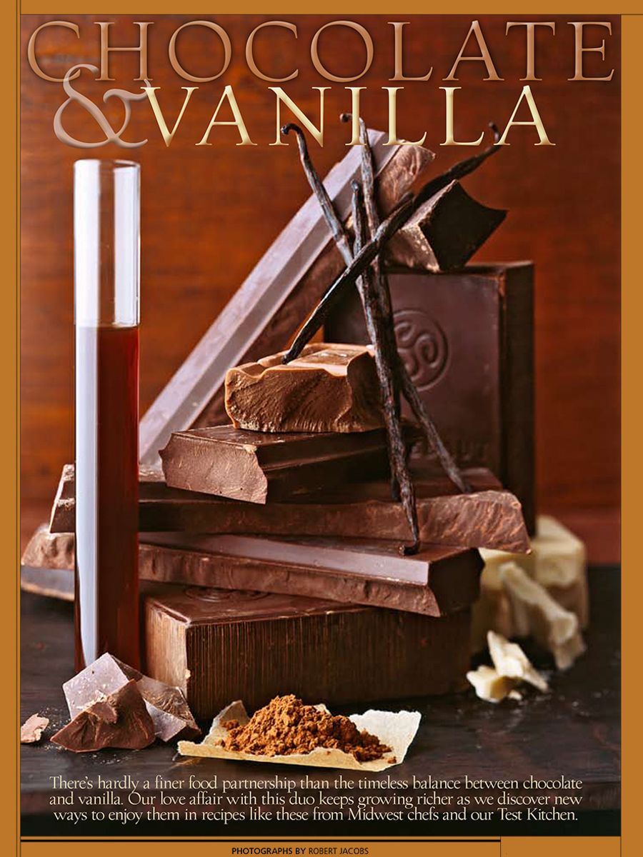 Chocolate & Vanilla , vanilla extract, vanilla beans, dark, milk & white chocolate chunks, cocoa, with chocolate shavings arranged in still life for Midwest Living Magazine story.www.rkjacobs.comTop Food Photographer New York Seattle PortlandRobert Jacobs