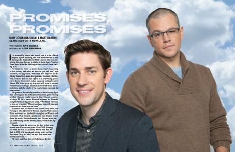 "John Krasinski and Matt Damon, Actors, Producers and Screenwriters of ""Promised Land"""