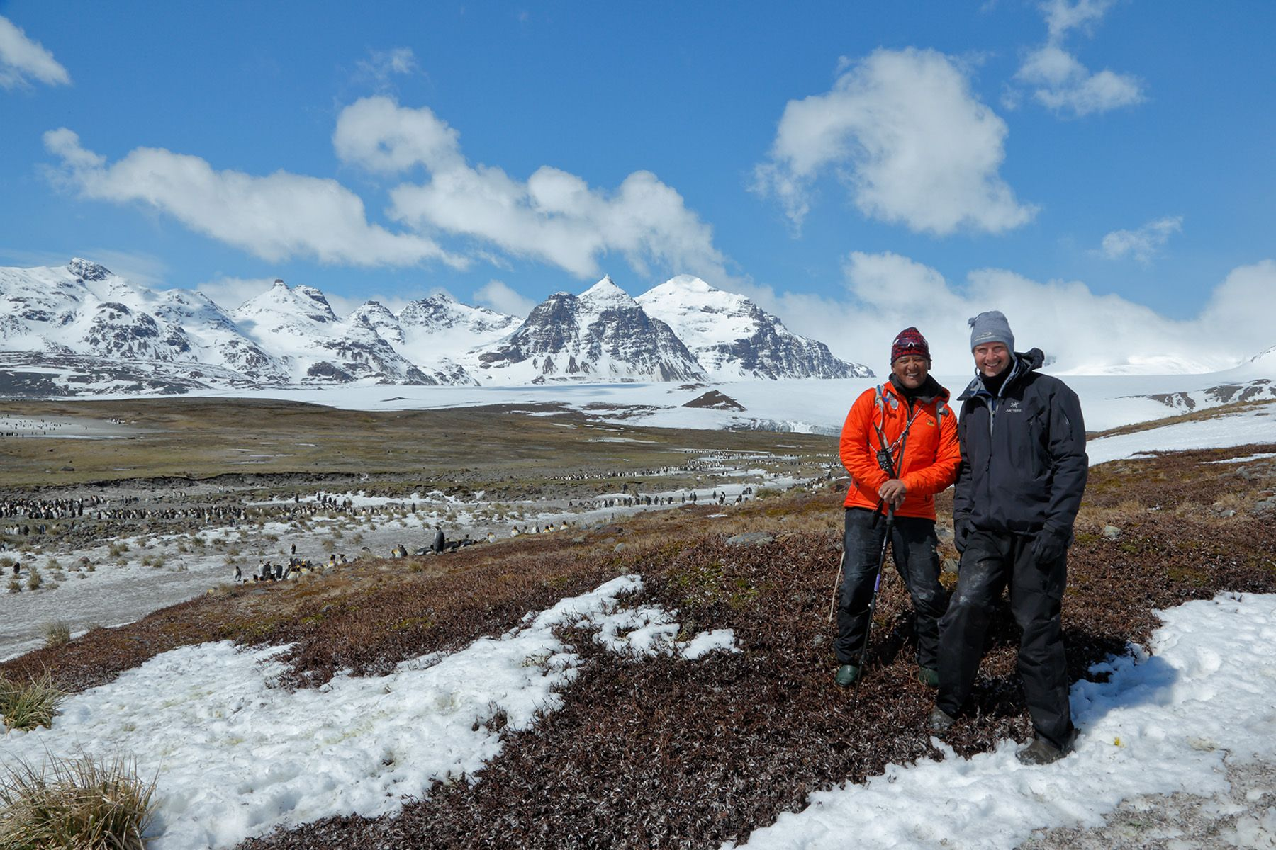 Tashi Tenzing and Clemens in front of the Lucas Glacier_E7T3676-Salisbury Plain, Bay of Isles, South Georgia Islands, Southern ocean.jpg