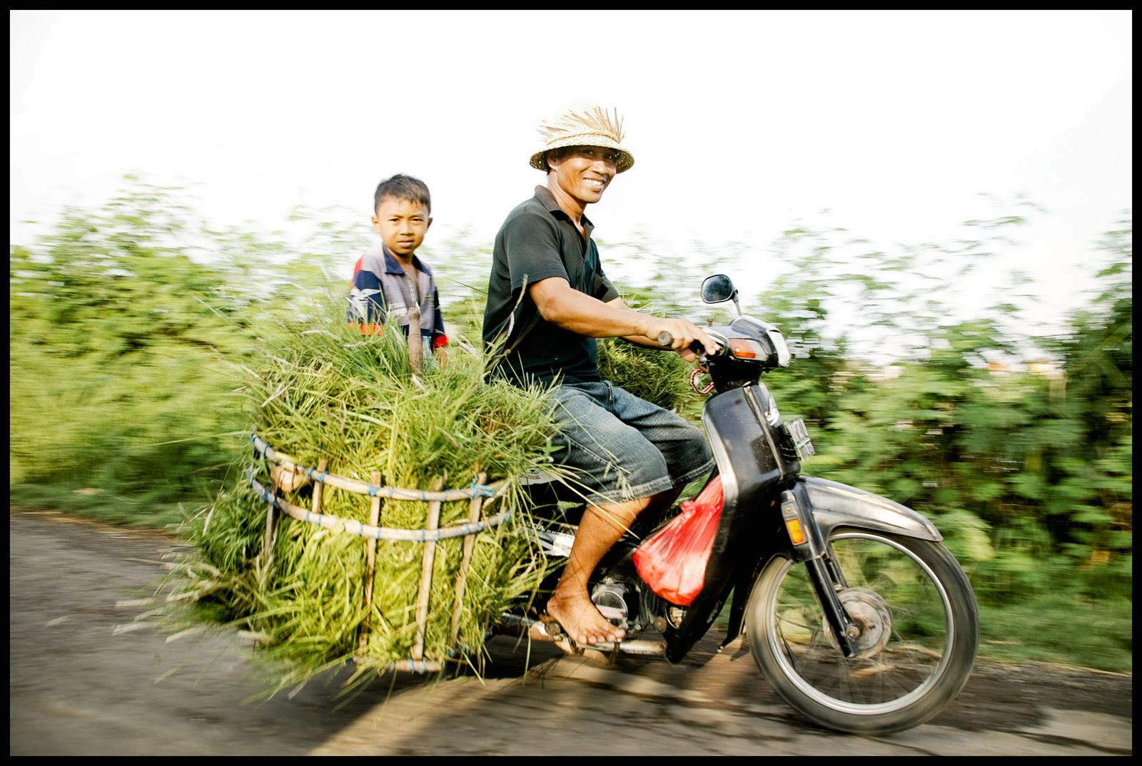 Happy father and son transport in Bali