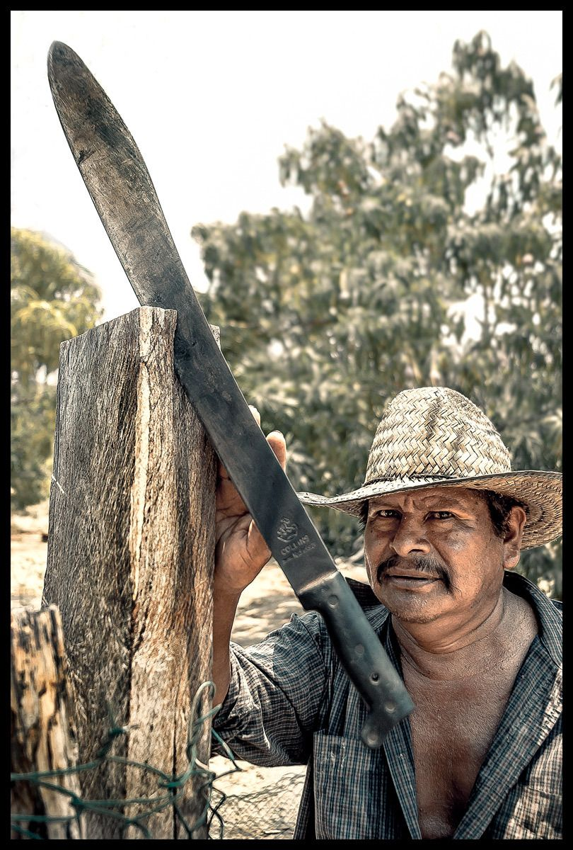 a non-threatening Mexican farmer and his machete