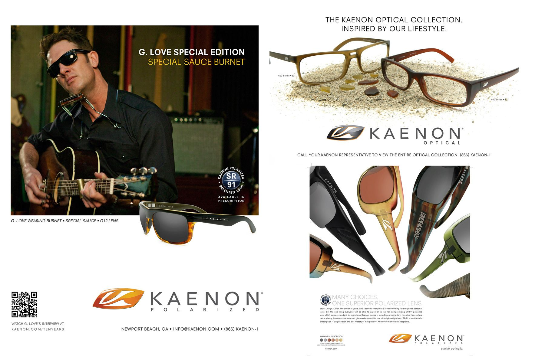 G. Love for Kaenon Polarized, along with various product stills