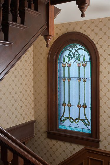 Art Nouveau stained glass window - AA Smith house