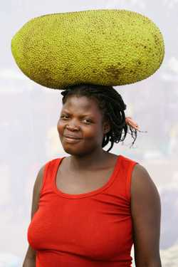 Adong Prossy (age 27)  sells Jack Fruit for one year.  Selling a whole fruit for  4,000 UGX, or 500 UGX a slice.