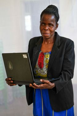 Elizabeth Abur (age 36) trains visually impaired  people how to use braille and computers.