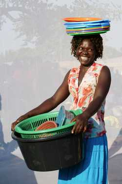 Abeg Susan (age 30) selling plastic buckets & utensils  for five years.