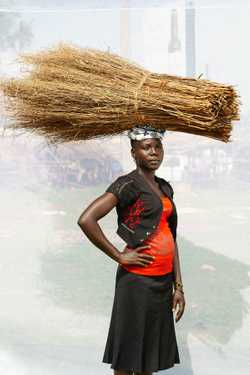 Atoo Mary (age 18) selling soft brooms for two years for 1,000UGX per broom.