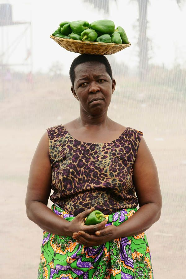 Widow selling peppers