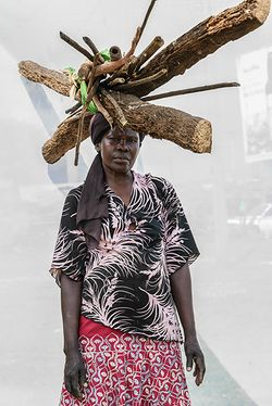 A. Christine (age 48) selling charcoal and firewood for 11 years  at 5,000UGX per bundle.