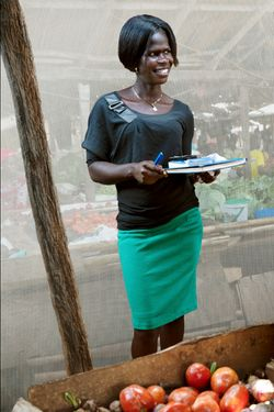 Adong Agnes (age 27) manager of Layibi Market for two years.