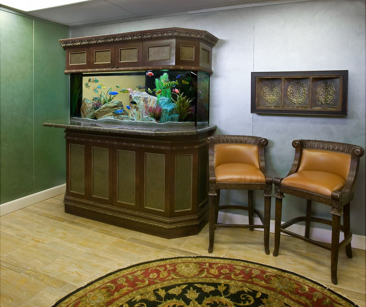 A Colorful Freshwater Aquarium in a Commercial Reception Area