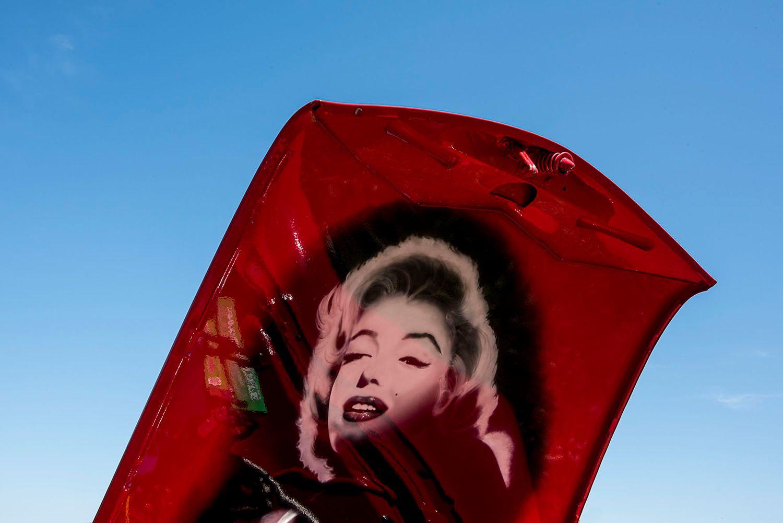 Marilyn Monroe Painted on Inside of Car Hood
